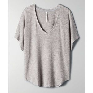 Aritzia The Group by Babaton Taurus T-Shirt Thermal V-Neck Grey NWT